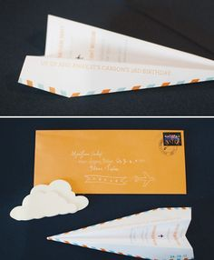 airplane party: paper airplane invitations by Chips and Salsa Designs