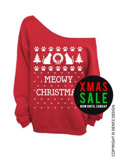 """Use coupon code """"pinterest"""" Meowy Christmas - Ugly Christmas Sweater - Red Slouchy Oversized Sweatshirt by DentzDenim"""