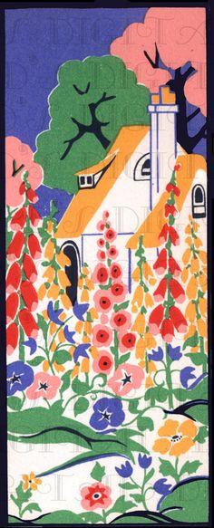 Hollyhock Filled Art Deco Storybook COTTAGE.1920s