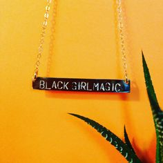 14K gold filled, hand stamped Black Girl Magic necklace. I make luxe jewelry that empower the brown girls. Check our my MELANIN necklace as well. Visit www.EssenceMurjani.com to purchase.