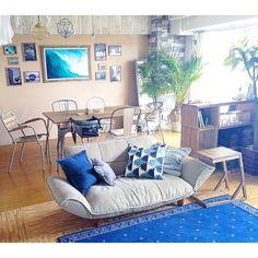 女性で、2LDKの海を感じるインテリア/ジョイントマット/セルフリノベーション/こどもと暮らす。…などについてのインテリア実例を紹介。(この写真は 2016-06-28 18:35:01 に共有されました) California Style, California Homes, Beach Design, Surf Style, Cool Rooms, Interior Accessories, Coastal Living, Room Interior, Interior Architecture