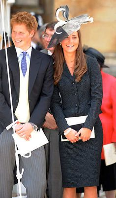 June 16, 2008 Kate Middleton with Prince Harry at William's induction into the Order of the Garter on June 16, 2008, held at St. George's Chapel inside Windsor Castle.