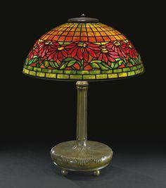 "TIFFANY STUDIOS ""POINSETTIA"" TABLE LAMP circa 1910"