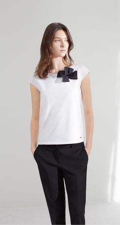 T-shirt in stretch cotton jersey and cotton poplin - Tops - Collection - New collection resort 16