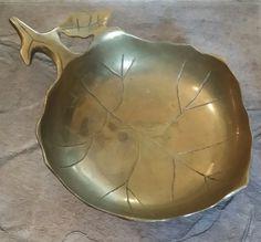 """Decor, brass leaf bowl approx 9"""" w"""