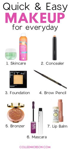Need inspo for a quick and easy everyday makeup look? Here are tips for a simply yet pretty makeup look you can sport with confidence on the daily. #easy #everyday #makeup #look Beauty Hacks Skincare, Beauty Makeup Tips, Beauty Dupes, Simple Everyday Makeup, Simple Makeup, Basic Makeup Kit, Makeup Bag Essentials, Natural Makeup Tips, Makeup Looks Tutorial