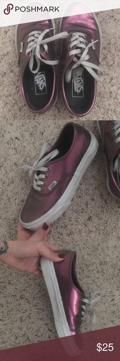 Shiny maroon Vans Gently worn slight dirt but will come right off if you wash them. Love these bad boys but never wear them anymore Vans Shoes Sneakers