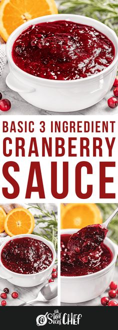 Learn how to make basic homemade cranberry sauce with just 3 ingredients as well as 8 different flavor variations. There's sure to be one you love! Canned Cranberry Sauce, Cranberry Relish, Cranberry Recipes, Chef Recipes, Soup Recipes, Cooking Recipes, Recipies, Thanksgiving Recipes, Holiday Recipes