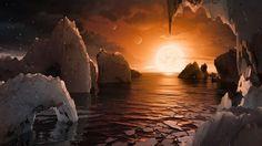 赤色矮星「TRAPPIST-1」の周りを公転する7つの惑星のうちの一つ「TRAPPIST-1f」の表面を描いた想像図。米航空宇宙局(NASA)ウェブサイトより。(c)NASA/JPL-Caltech - AFPBB News 提供