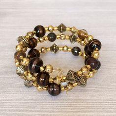 Multi Wrap Bracelet Glass Bead Memory Wire by BarbsBeadedJewelry