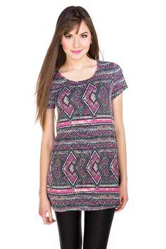 Aztec Pattern Cap Sleeve Blouse