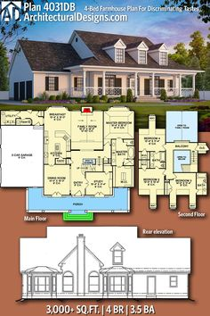 Architectural Designs Modern Farmhouse Plan 4031DB has the master bedroom on the main floor. 4BR | 3.5BA | 3,000+ Sq. Ft. | Ready when you are. Where do YOU want to build? #4031DB #adhouseplans #architecturaldesigns #houseplan #architecture #newhome #newconstruction #newhouse #homedesign #dreamhome #dreamhouse #homeplan #architecture #architect #housegoals #Modernfarmhouse #Farmhousestyle #farmhouse