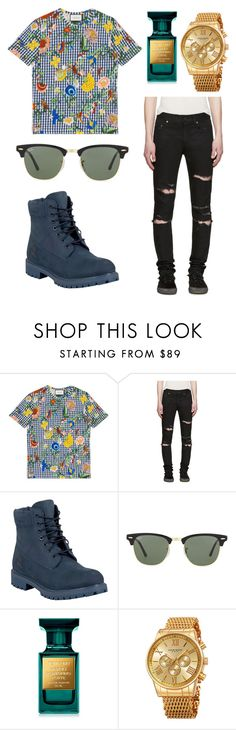"""""""5"""" by joshua-little on Polyvore featuring Gucci, Yves Saint Laurent, Timberland, Ray-Ban, Akribos XXIV, men's fashion and menswear"""