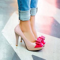 """Style: Sweet   Color: Rose Red / Green   Upper Material: PU   Outsole: Rubber   Heel Type: Stiletto   Heel Height: 10CM(3.94"""")  Size:US 5/US 5.5/US 6/ US 7/US 7.5/US 8  UK 2.5   US 5      EUR 34          MM 220  UK 3     US 5.5    EUR 35          MM 225  UK 4     US 6      EUR ..."""