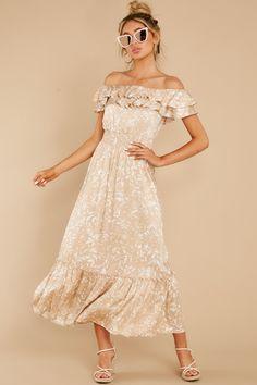 Elegant Brown Dress - Print Off The Shoulder Smock Maxi - Dress - $54 Black Dinner Dress, Shop Red Dress, Coloured Girls, Casual Skirts, Brown Dress, Dress Skirt, Clothes For Women, Elegant, Outfits
