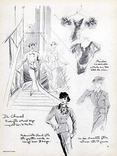 Chanel 1935 Melle Gabrielle Coco Fashion illustrations Portrait Cecil Beaton