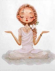 Meditation Pillow, Yoga Meditation, Cute Cartoon Pictures, Print Pictures, Yoga Illustration, Outline Art, Cartoon Painting, Yoga Art, Beautiful Yoga