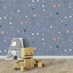 A wide range of Wallpaper available to buy today at Dunelm, the UK's largest homewares and soft furnishings store. Childrens Bedroom Wallpaper, Kids Room Wallpaper, Children Wallpaper, Boy Toddler Bedroom, Baby Boy Rooms, Kids Bedroom, Kindergarten Wallpaper, Space Themed Nursery, Ideas