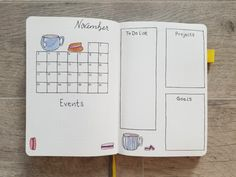 November 2019 Calendar in bullet journal and monthly spread decorated with hand drawn teacups, scones, and macarons Bullet Journal Yearly Spread, Bullet Journal And Diary, December Bullet Journal, Journal Fonts, Bullet Journal Tracker, Bullet Journal Printables, Bullet Journal Notebook, Bullet Journal Layout, Bullet Journal Ideas Pages