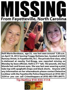 Kelli Bordeaux, Missing Fayetteville North Carolina, http://www.missingpersonsofamerica.com