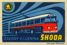 This safety match book cover is a Škoda bus from around 1970.