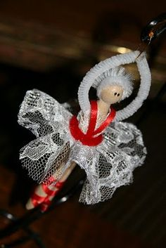 Tutorials: Clothes Pin Ballerina My mission was to come up with something to do with the lace left over from the the Victorian Lace Ball ornament. We also had clothes pins leftover from the Clothes Pin Angel.