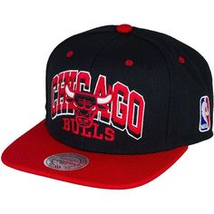 Mitchell Ness 2X Arch Snapback Cap NBA Chicago Bulls ($35) ❤ liked on Polyvore featuring accessories, hats, hair, snap back hats, snapback hats, snapback cap, cap snapback and caps hats