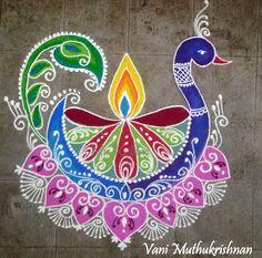 Peacock by Vani garu. Simple Rangoli Designs Images, Rangoli Designs Flower, Rangoli Patterns, Rangoli Border Designs, Rangoli Ideas, Colorful Rangoli Designs, Rangoli Designs Diwali, Kolam Rangoli, Flower Rangoli