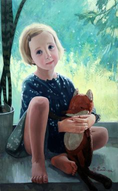Sayda Afonina (1965, Russian)Girl With Mushrooms