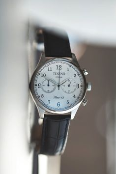 """themanliness:  Tusenö introduces their first watch """"First 42″. Beautiful mecha-quartz watches inspired by the west coast of Sweden. Here is the beautiful Silver/White dial watch with a black leather strap. Go order one of the first 150 from their Kickstarter and save $100 off the retail price! Tusenö - First 42"""