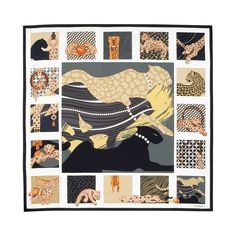 Scarf 90 x 90 cm with panthers composition motif - Black and white twill silk - Fine Scarves for women - Cartier