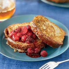 Brioche French Toast with Fresh Berry Compote | Pastry Chef Mariah Swan bakes buttery brioche for this crisp French toast, which she tops with a warm berry compote. The compote comes together in less than 10 minutes but tastes surprisingly complex for something so quick.