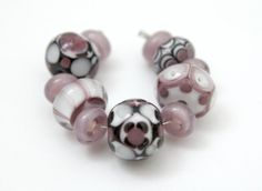 Set of Pretty Glass Beads in Pink Black and White by blancheandguy, $42.00