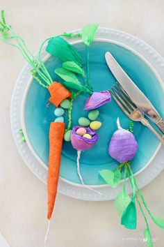 crepe paper vegetable treat holder