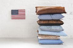 © smallbigidea.com Magdalena Syboń USA flag painting with denim and leather cushions.