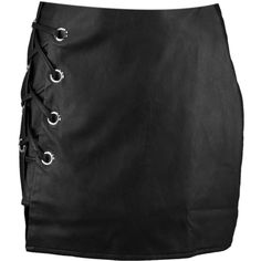 Sofia Lace Up Side Leather Look Mini Skirt ($21) ❤ liked on Polyvore featuring skirts and mini skirts