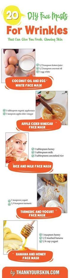 DIY face mask for Wrinkles - Easy Homeade Recipes for Anti aging - Get rid of wrinkles forehead and Undereye #DIYFaceMask #Wrinkles #ThankYourSkin