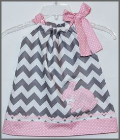 Modern Chic Chevron Stripe Applique Bunny Rabbit Dress Gray and Pink. $25.00, via Etsy.