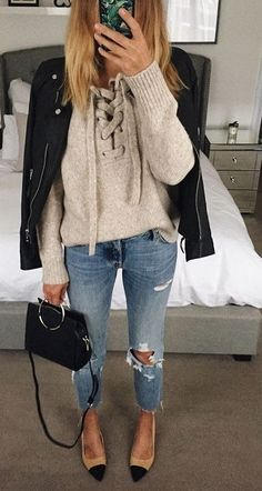 #fall #fashion ·  Leather Jacket + Bow Sweater + Destroyed Jeans