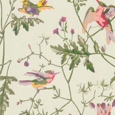 Hummingbirds Wallpaper A delightful wallpaper featuring playful hummingbirds fluttering amongst delicate foliage, printed in moss green, purple and red on a light soft green background.