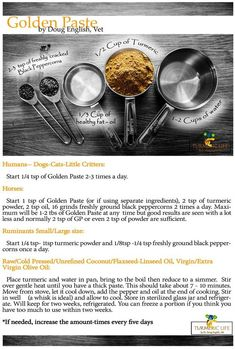 This is the Number One Golden Paste (GP) recipe that has been tried and tested by thousands of TUG users across the globe. * This recipe may be used for humans as well as animals.