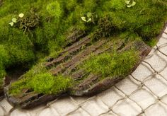 Artificial Moss & Bark 14in ~ pinned for inspiration. MOSS >>> https://www.thespruce.com/making-fake-moss-for-halloween-props-2736459 I want to try Rit fabric dye on drier lint...