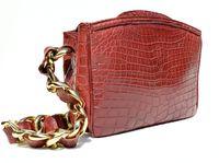 Gorgeous 1990's-2000's (Aurora) RED ALLIGATOR Belly Skin Shoulder Bag SATCHEL - Maxima - Titti Del'Aqua - ITALY