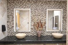 So gorgeious! Tile Outlets of America's Fort Myers bathrooms - newly redesigned! Retail Experience, Fort Myers, Tile Design, Outlets, Business Design, America, Flooring, Mirror, Bathrooms