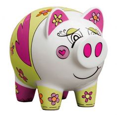 6 mi Pottery Painting, Dot Painting, Ceramic Painting, Pig Bank, Penny Bank, Pig Drawing, Paper Mache Crafts, This Little Piggy, Pottery Designs