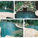 Infinity Edge Gunite Pool, with built-in Gorrto. Colored Plaster. Flagstone Patio Deck.