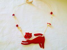 Κολιέ γατούλα, με σμάλτο και υγρό γυαλί Drop Earrings, Jewelry, Fashion, Moda, Jewlery, Jewerly, Fashion Styles, Schmuck, Drop Earring