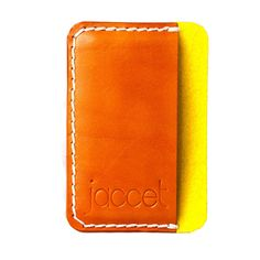 Leather card holder. Yellow wool felt lining. Credit card Veg tanned leather.Small leather wallet.Saddle tanned. Premium leather card holder