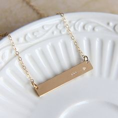 Gold Bar Necklace, Arrow necklace, Sterling Silver Bar Necklace, Rose Gold Bar, Bar Necklace, Hand stamped Bar Necklace, Friendship necklace