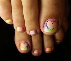 💚💛💜💙 Pinterest Design, Manicure Y Pedicure, Mani Pedi, Toe Nail Art, Toe Nails, Pretty Toes, Pretty Nails, Cute Pedicures, Painted Toes